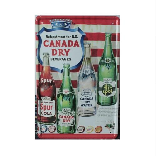 Canada Dry Tin Vintage Pub Sign Bar Casa Retro Wall Decor Metal Arte Poster 20x30 cm