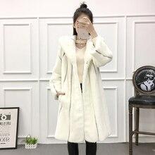 Femmes hiver réel manteau de fourrure de vison manteau à capuche mode vison fourrure vêtements dextérieur femme