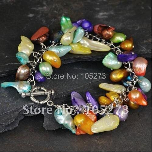 Vívida Multicolor perla blíster pulsera AA 10-16MM moda perla joyería fiesta regalo venta al por mayor nuevo envío gratis