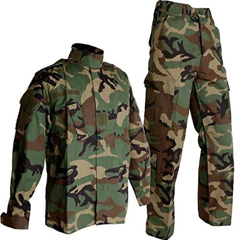 CQC Tactical Airsoft Military Army BDU Uniform Woodland Combat Shirt & Pants Set Outdoor Paintball Training Hunting Clothing us army military uniform for men custom combat shirt