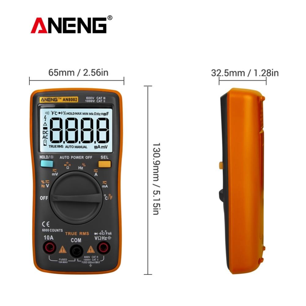 Multímetro Multimetro Digital de 6000 cuentas ANENG AN8002 multímetro medidor de condensador de Transistor Profesional Digital medidor lcr esr