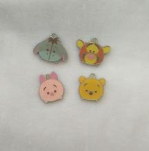 NEW Cartoon  20pcs Cartoon  eeyore  bear pig tiger  Enamel Metal Charm Pendants DIY Jewelry Making Party Favors Toy K-812