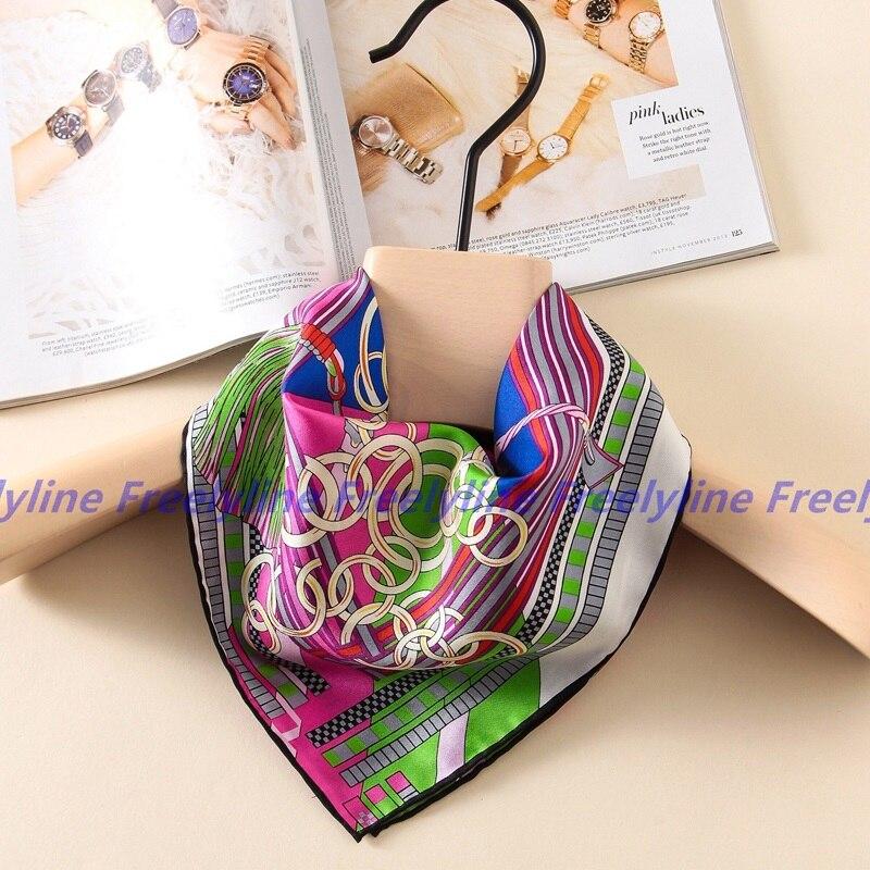 Moda de Impressão 100% Lenço De Seda Foulard Bandana Mulheres do Lenço de Seda Quadrado Pequeno Cachecóis & Wraps Charme Acessórios de Vestuário
