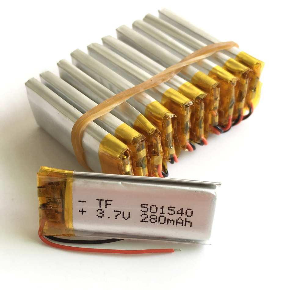 Venta al por mayor, 10 Uds., 3,7 V, 280 mAh, batería recargable li-po de polímero de litio para navegador GPS portátil, Mp3, MP4, MP5, bluetooth 501540