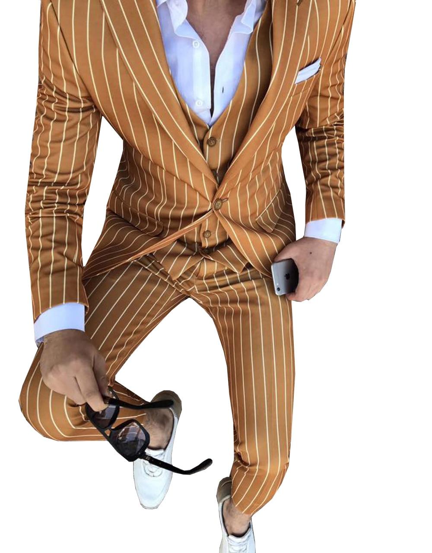 Trajes de hombre a rayas Slim Fit 3 piezas de negocios novio chaqueta de esmoquin chaqueta azul marino trajes para boda Prom Evening (Blazer + chaleco + Pantalones)