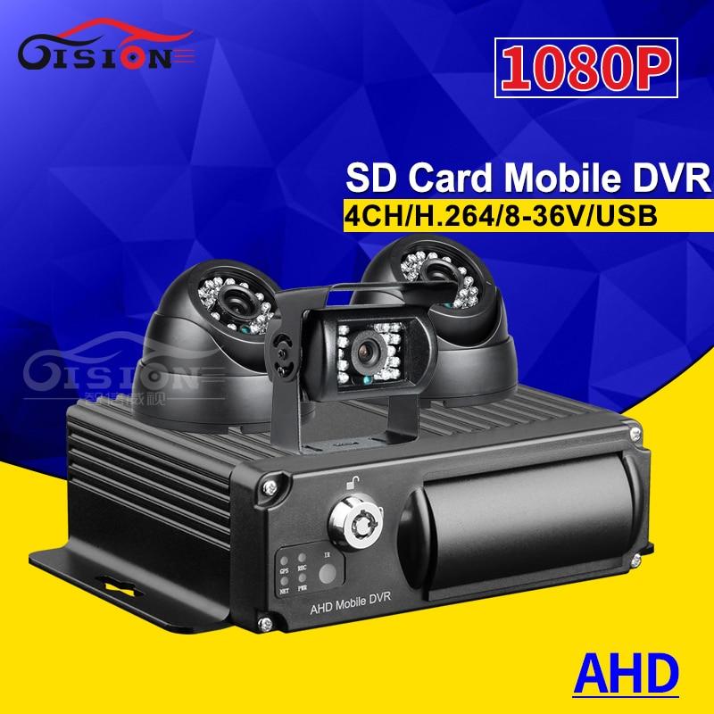 3 uds. Cámaras de Vigilancia DE SEGURIDAD DE 2.0MP AHD Bus camión coche + Mini 4CH 1080P Video/Audio grabador de coche Mdvr + tarjeta SD 32G