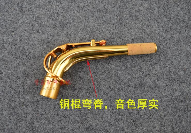 Eb Alto saxofón cuello doblado cuello codo flauta cabeza con hilo Triangular sonido bueno