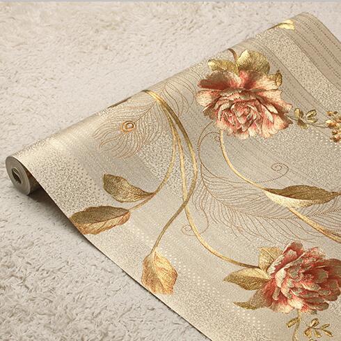 Nuevo papel tapiz de lujo 3D con rosas y flores rayadas papel tapiz 3D papel tapiz de lujo dorado papel tapiz de rayas papel tapiz para sala de estar dormitorio