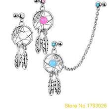 Bijoux de corps de fille à la mode attrapeur de rêves étoile hélice Tragus chaîne nez boucle doreille lèvres 4U2Y