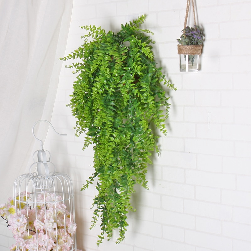 Planta de pared artificial de hojas verdes, plantas postizas para colgar, decoración para el hogar, cesta para balcón, accesorios Kep, decoración de mimbre