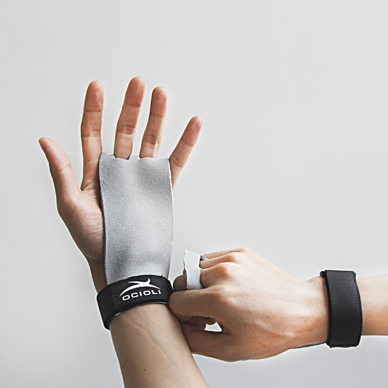 1 par de Guantes protectores de palma de la mano de cuero sintético para gimnasia CrossFit, Guantes para gimnasio