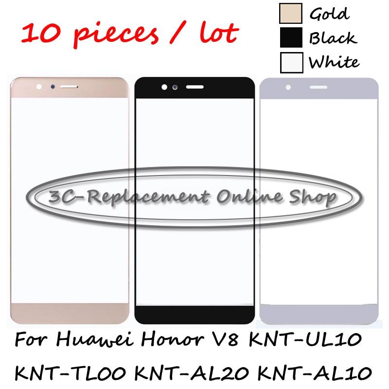 10 pçs para huawei honor v8 KNT-UL10 KNT-TL00 KNT-AL20 KNT-AL10 frente exterior lente de vidro reparação tela toque vidro exterior