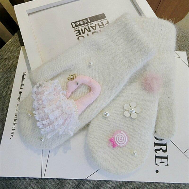 new arrive Korean Little Swan rabbit fur warm women fashion adult knit gloves mittens with autumn and winter female