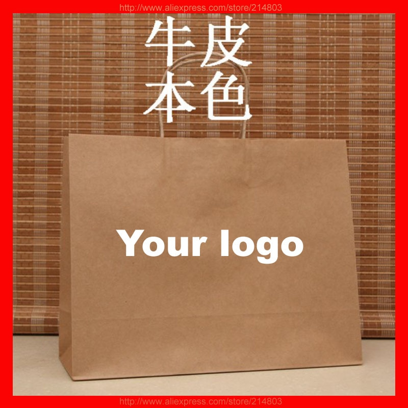 (500pcs/lot) size W32xH26xD12cm wholesale brown kraft paper bag with brand logo printed