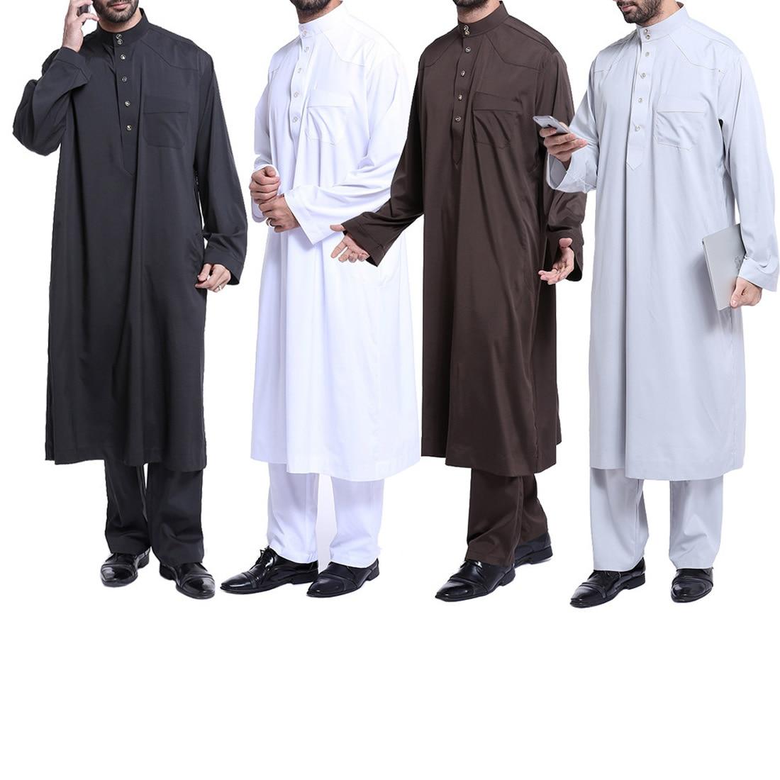 Plus Size Homens Vestido Dos Muçulmanos Vestuário Islâmico 2 Peças Conjunto Formal Vestido Paquistão Musulman Homme Jubah Abaya Caftan Islam Roupas
