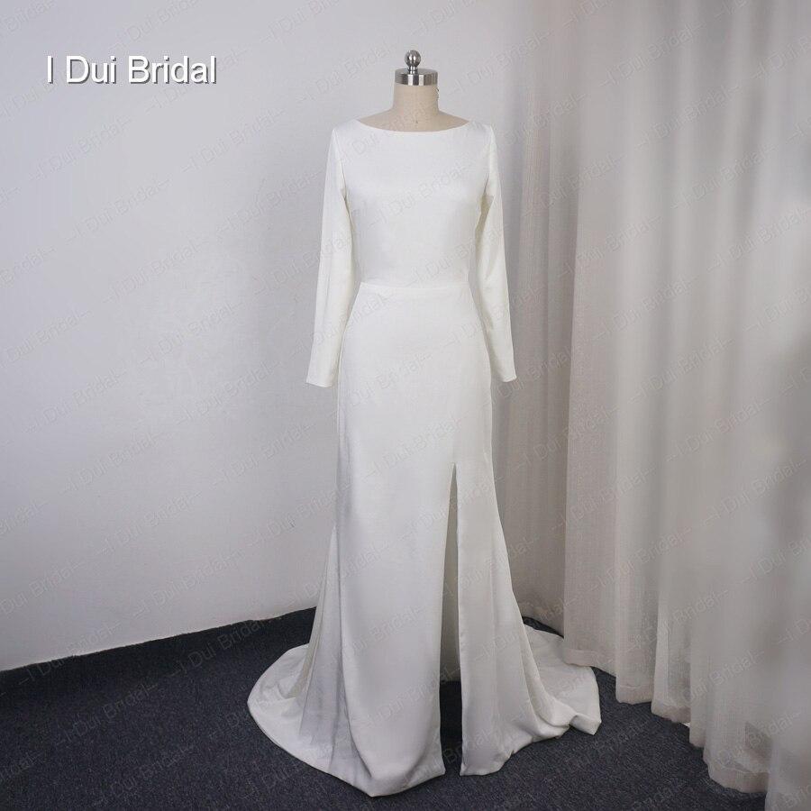 Spandex Crepe vestido de novia de manga larga puro elegante traje de novia con hendidura Hilary Duff vestido de novia Material