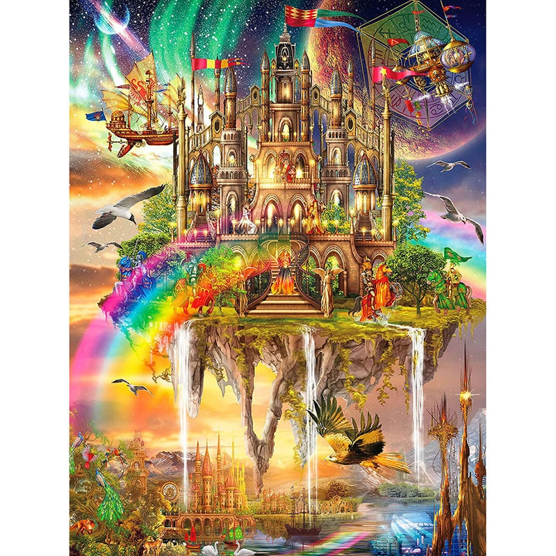 Pintura de diamantes DIY 5D, punto de cruz, mosaico bordado de diamantes, pintura de pared, castillo con arcoiris KBL