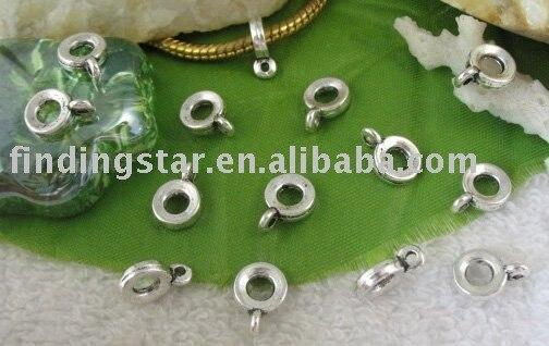 FREE SHIPPING 420pcs Tibetan silver circle european bead bail W/big hole A9410