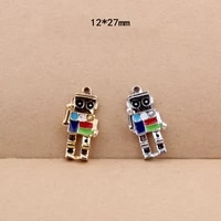 cute oil drop gold silver charms 10pcslot 3d robot metal enamel charms floating dangle charms diy bracelet jewelry findings