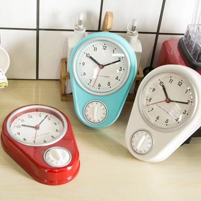 Reloj de pared creativo de cocina Reloj de pared moderno y temporizador sencillo Mini personalidad pequeño hogar Relojes temporizador de cocina