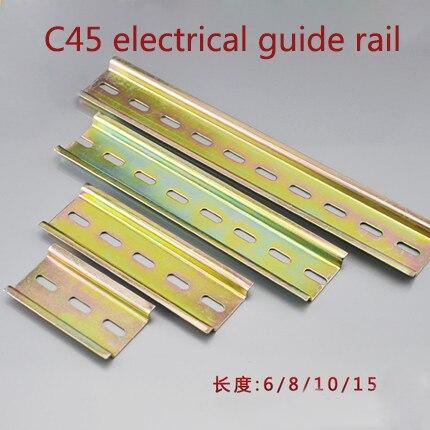 1 pieza de carril DIN ranurado de aluminio Universal de 35mm y 0,5 metros para el Contactor de bloques de terminales C45 DZ47, etc.