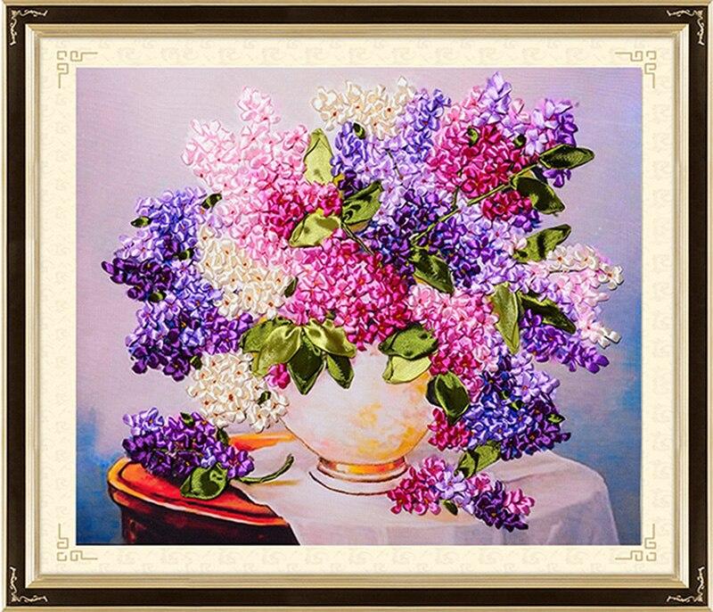 Цветущая Цветочная ваза, шелковая лента, вышивка, 3D холст, живопись, сатин, вышивка крестиком, набор, рукоделие, уникальный подарок ручной ра...