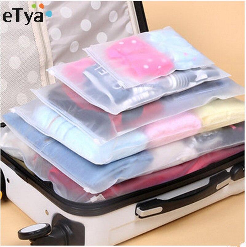 ETya 5 unids/set mujeres hombres viaje equipaje embalaje cubo organizador bolsas PVC Impermeable bolsa de cosméticos
