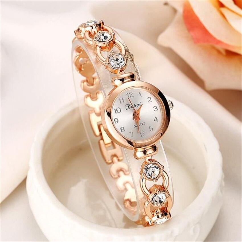 Gold Silver Fashion Women Bracelet Watch Ladies Rock Crystal Clock Luxury Dress Quartz Wrist Watch f