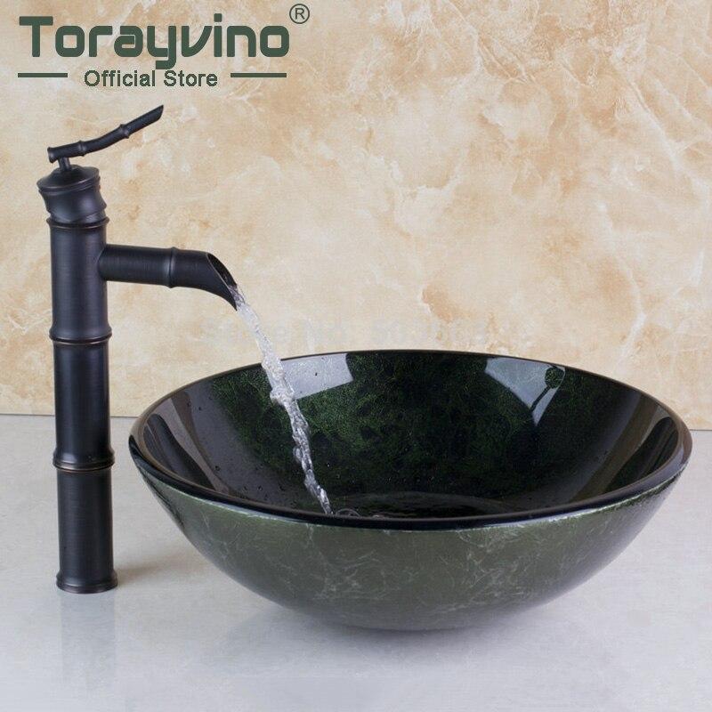 Waterfall Spout Basin Black Tap+Bathroom Sink Washbasin Ceramic Lavatory Bath Sink Combine Set Torneira Mixer Faucet MF-1190