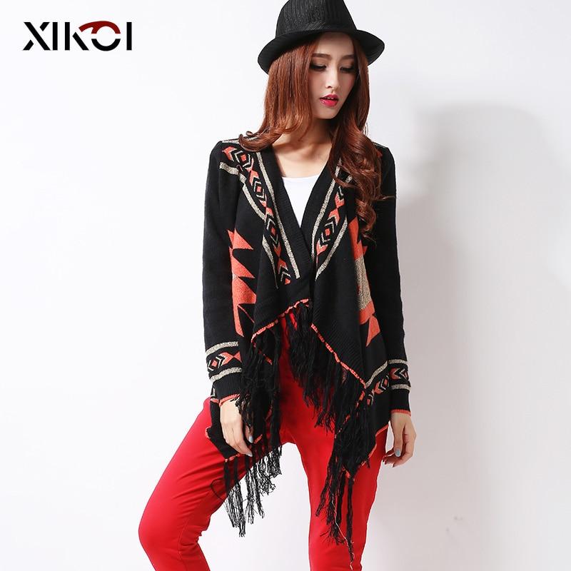 XIKOI cárdigans de mujer con borla característica Kimono suéter negro moda geométrica de punto grueso mujeres moda Casual 0-op; suéteres