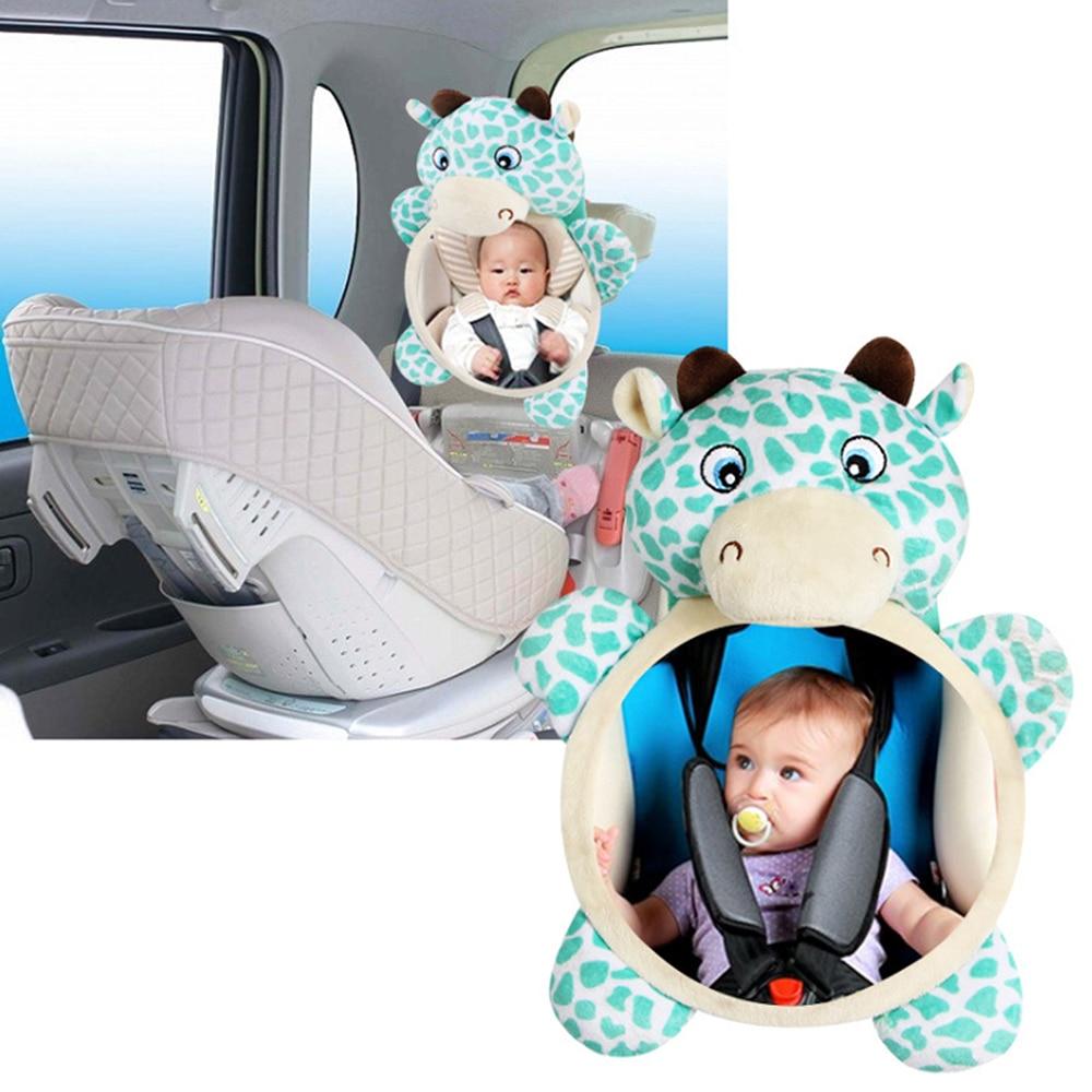 Bonito Plush Toy Animal Girrafe Espelho de Carro Do Bebê Assento de Segurança Do Carro de Volta Retrovisor Espelho Monitor de Segurança Infantil Criança Cervos Macia brinquedos
