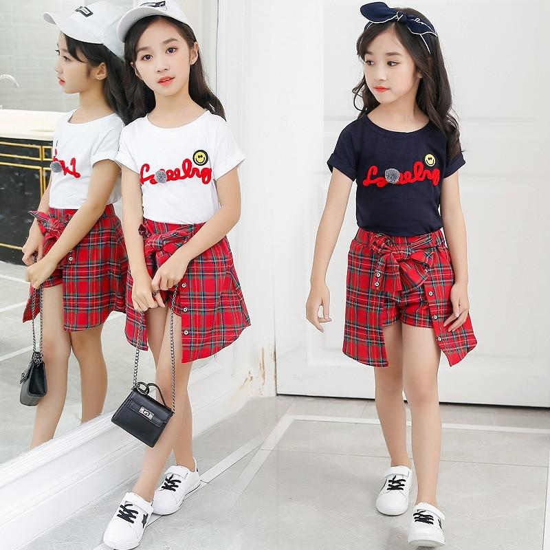 Niños Niñas conjunto de ropa blanca de color azul con letras camiseta + falda de arco a cuadros conjunto de dos piezas para niñas adolescentes 4 6 8 10 12 conjunto de ropa