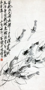 scenery canvas prints landscape modern Chinese artist masterpiece poster home decal art animals seascape Shrimps by Qibaishi
