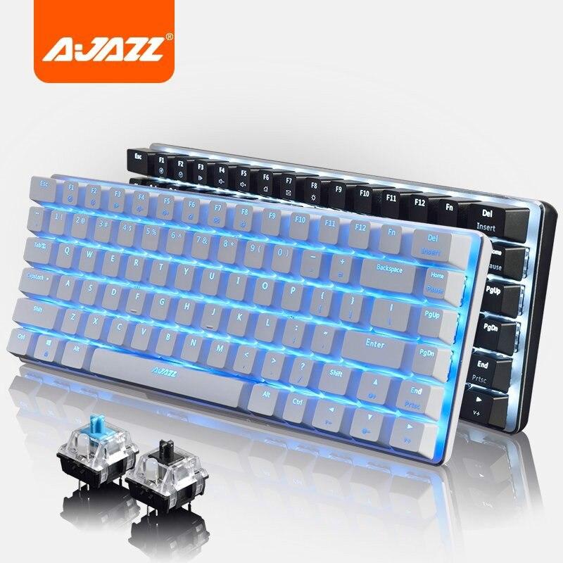 Teclado mecánico para videojuegos con retroiluminación simple de tres colores RGB de Ajazz AK33 con 82 teclas, teclado con cable USB con Base de aleación con interruptor azul/negro