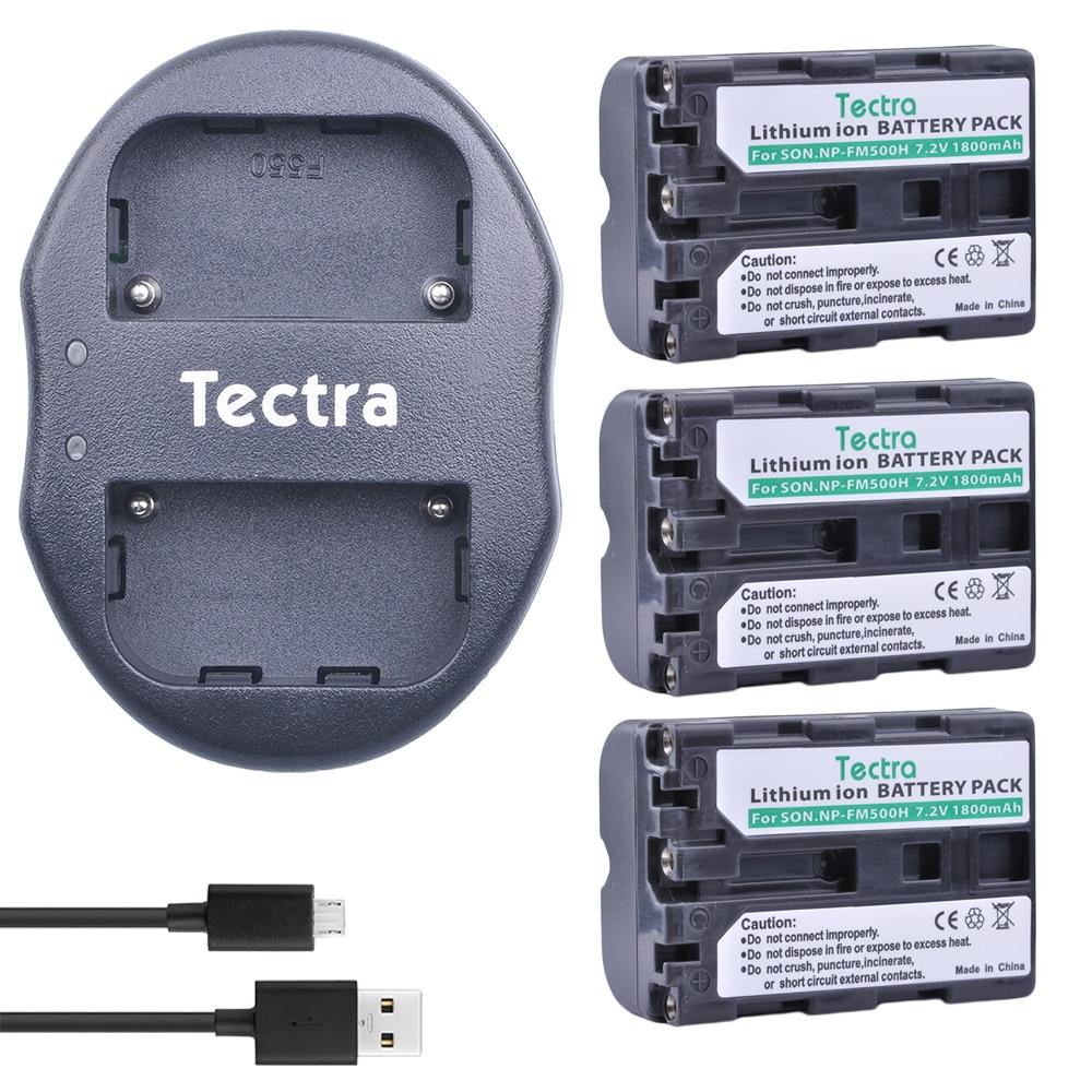 Tectra 3 шт. NP-FM500h батарея + USB двойное зарядное устройство для Sony A57 A65 A77 A99 A350 A550 A580 A900 A300 A900 A700 A200 a58 a560 a850