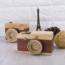 Drewniane zabawki kamery pozytywka kamera Retro Design klasyczna melodia urodziny Home Decoration