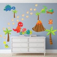 Autocollant mural de dinosaure de dessin animé   Bricolage, papier peint mignon de petits dinosaures, autocollant volcanique en arbre, papier peint en vinyle pour chambre denfants et bébé, décor de maison