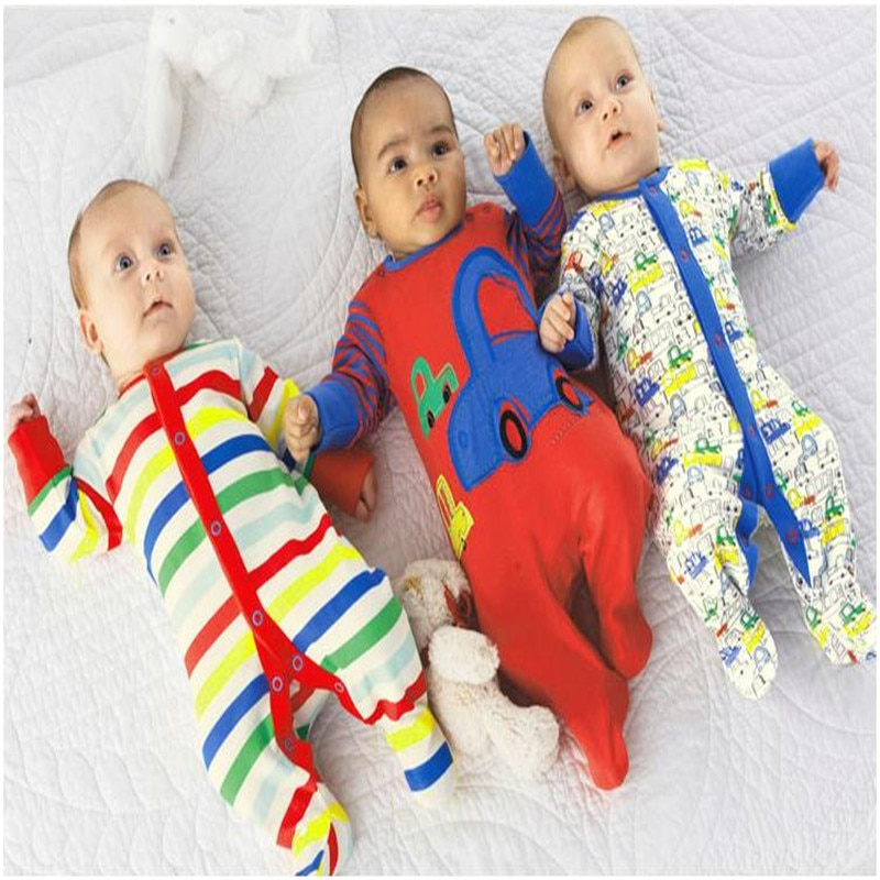 High Quality Footed Jumpsuits Overalls Long Sleeve Baby Boy Girl Rompers Infant Sleepwears Cotton Sleepsuit Pajamas 3pcs/lot