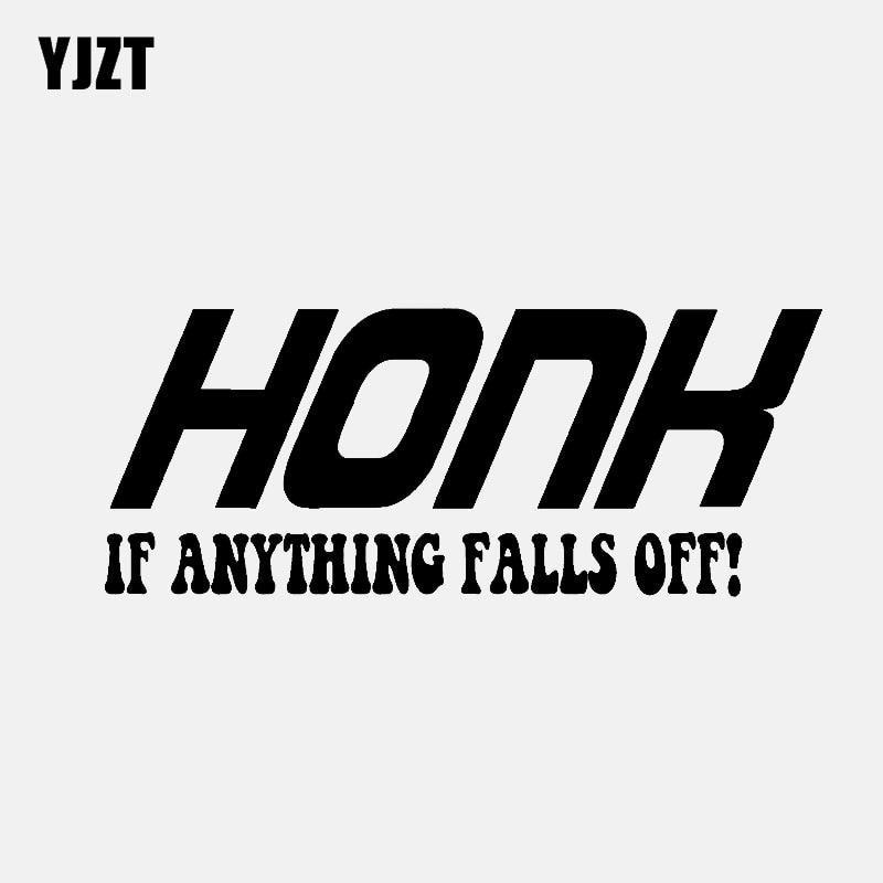 YJZT 14,2 CM * 5,8 CM HONK IF ANYTHING FALLS OFF vinilo pegatina coche Diesel negro/plata C3-0848