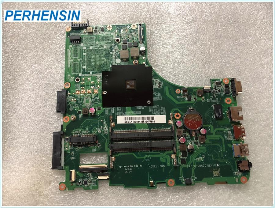 """Carte mère NBMLN11004 DA0ZQNMB6D0 pour Acer pour Aspire E5-521 A4-6210 1.80 ghz 15.6 """"DDR3L Ordinateur Portable carte mère 100% TRAVAIL PARFAITEMENT"""