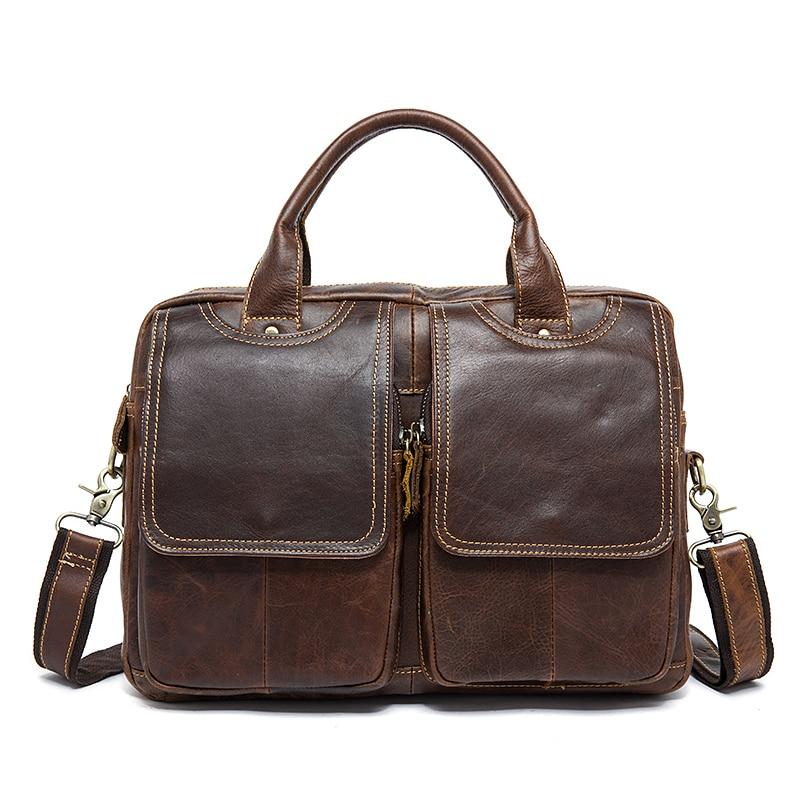 Men Laptop Briefcases For 14.1 Inch Macbook Air Computer Case Bag Cowhide Men's Shoulder Bags Handbags Man Genuine Leather Bags