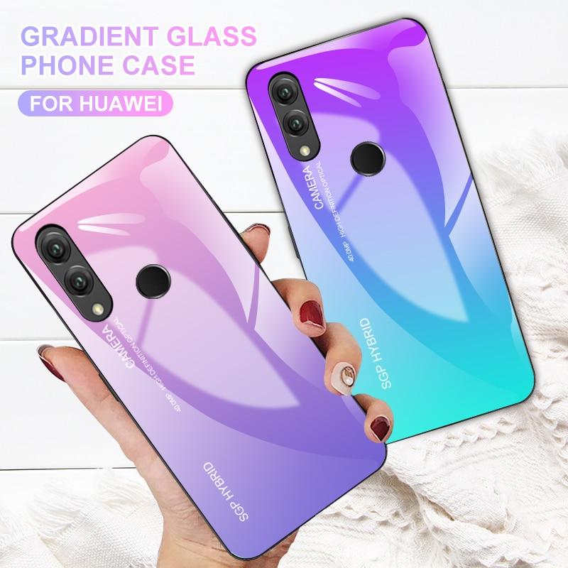 Gradient Phone Case For Huawei P Smart P20 Lite Pro P10 Plus Mate 10 20 Nova 3 3i Honor 9 8 Lite 7X 7C 7A Note 10 Glass Coque