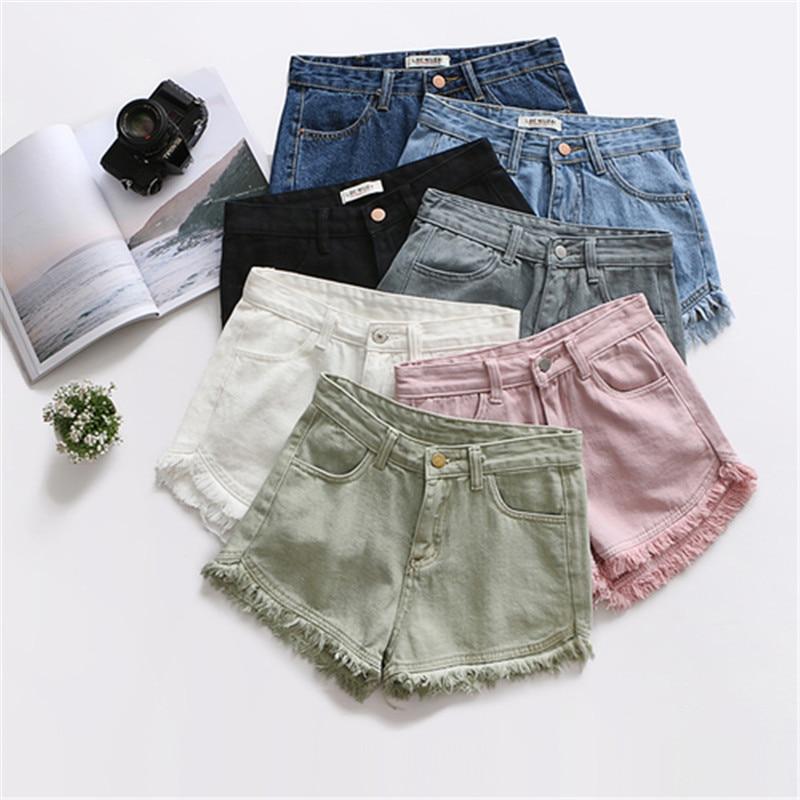 Женские джинсовые шорты HziriP, шорты с высокой талией и кисточками, 7 видов цветов, 2019