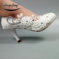 baoyafang round toe big flower womens wedding shoes bridals party dress shoe for woman high shoes ladies thin heels pumps