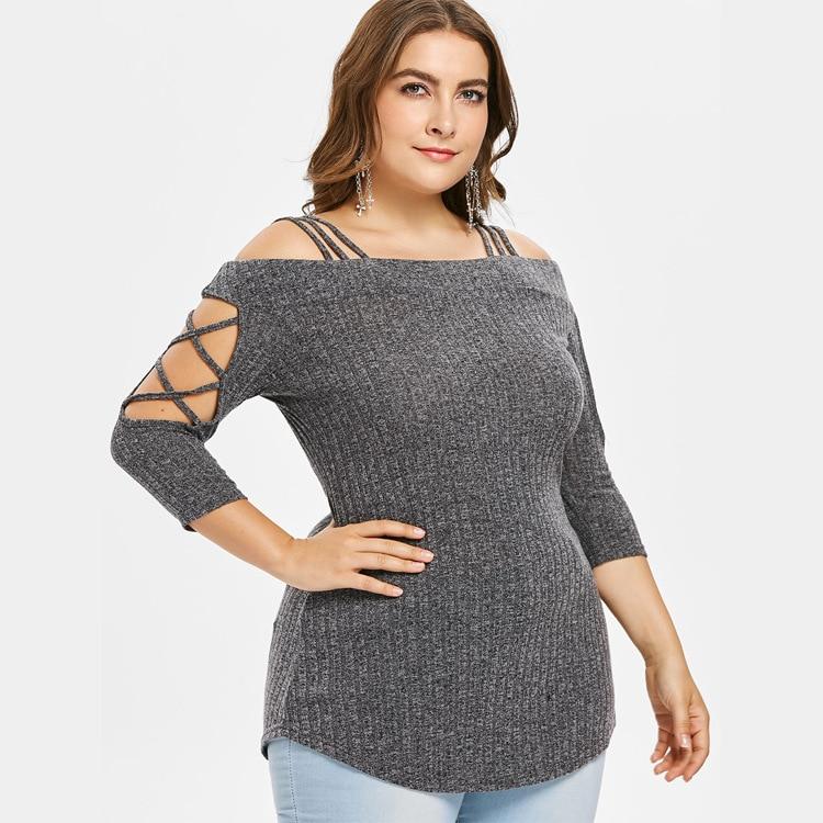 Nuevo suéter de otoño para mujer, suéter de un solo cuello con hombros descubiertos, Jersey de punto para mujer, jerséis de talla grande para mujer, suéter de talla grande