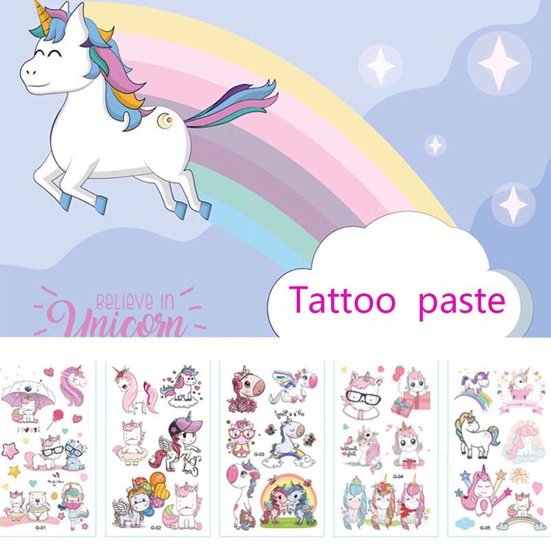 Tatuaje de unicornio de 10 piezas de dibujos animados para chico lindo tatuaje falso tatuaje temporal para niños