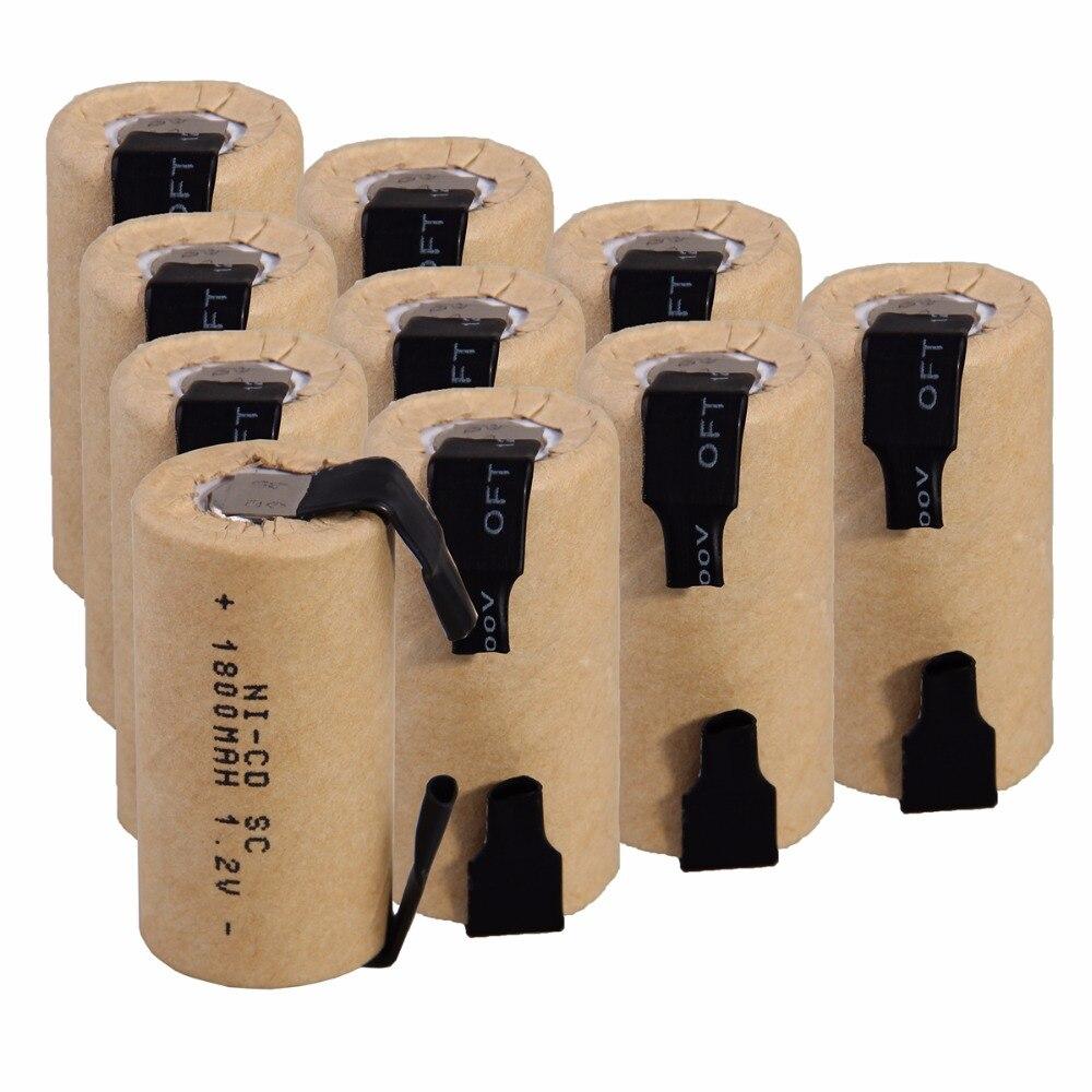 10 Uds SC 1800mah 1,2 v batería NICD baterías recargables para makita bosch B & D Hitachi metabo dewalt destornillador eléctrico