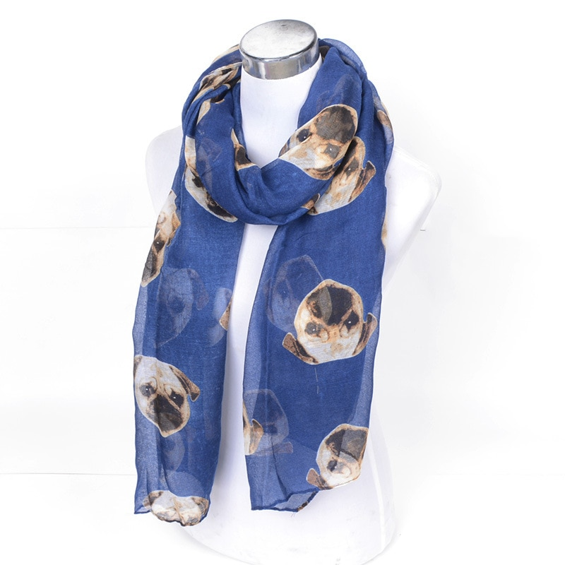 Bufanda China Shar Pei diseño de perro impreso chales largos Sharpei perros infinito animales lindos círculo anillo Echarpe Neckerchief YG293