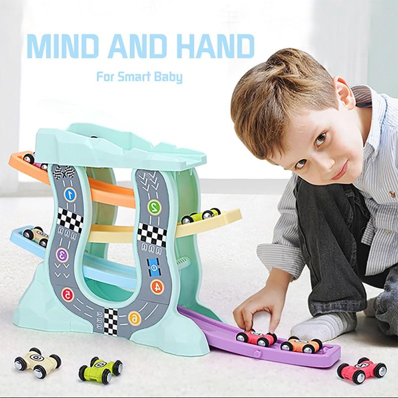 Coches de carreras juguetes modelo para niños rampas Racer vía férrea con deslizadores pequeño coche juguete para niños regalos de cumpleaños niños