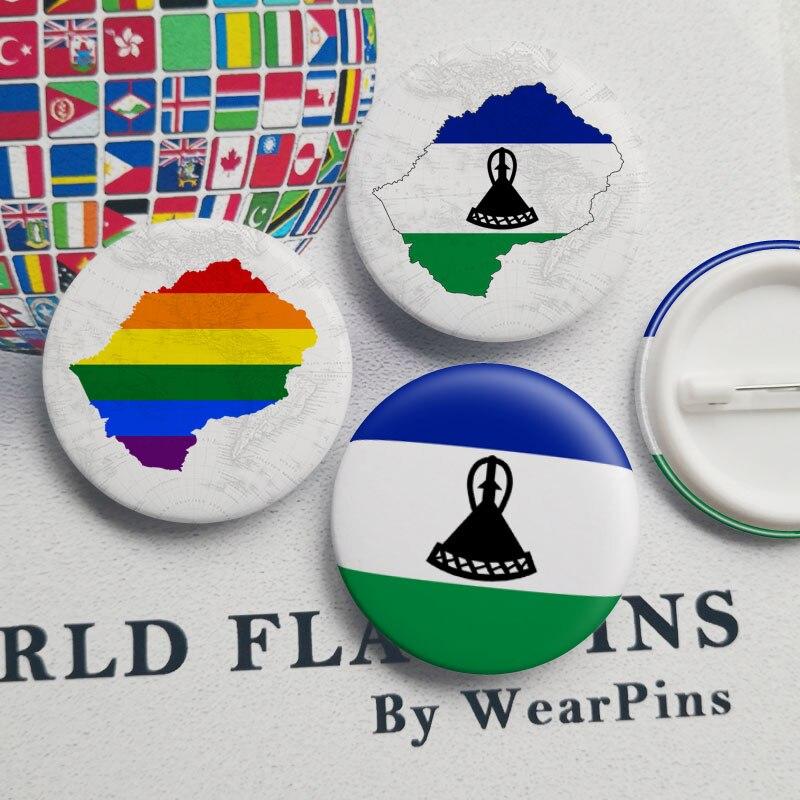 Lesotho drapeau carte étain bouton broches LGBT Gay arc-en-ciel fierté étain bouton Badges